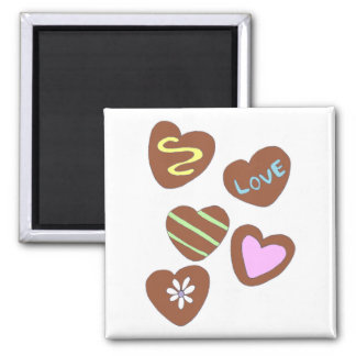 Chocolate Hearts Square Magnet