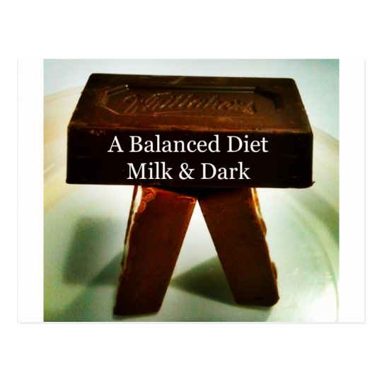 Chocolate Humour - A Balanced Diet Postcard
