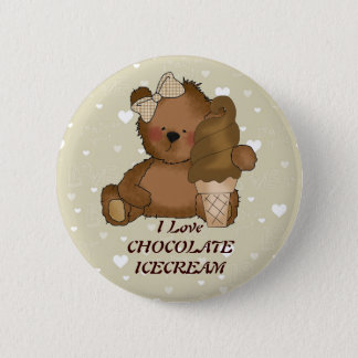 Chocolate Ice Cream Bear Button