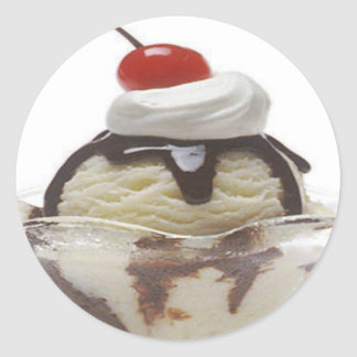 Chocolate Ice Cream Sundae Classic Round Sticker