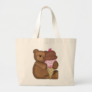 Chocolate Ice Cream Teddy Large Tote Bag