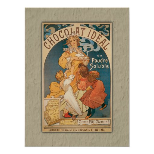 Chocolate Ideal Vintage French Beverage Poster