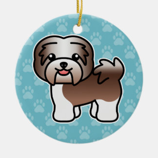 Chocolate Irish Pied Cartoon Havanese Christmas Ornament
