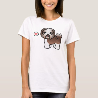 Chocolate Irish Pied Cartoon Havanese Love T-Shirt