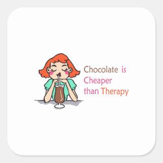 CHOCOLATE IS CHEAPER SQUARE STICKER