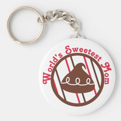 Chocolate Kiss World's Sweetest Mom Gifts Key Chain