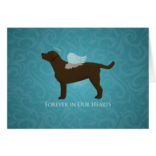 Chocolate Lab Angel Pet Memorial Design Card