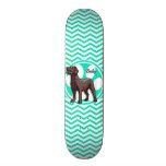 Chocolate Lab; Aqua Green Chevron Skate Board Deck
