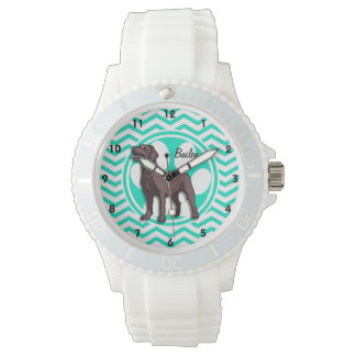 Chocolate Lab; Aqua Green Chevron Wrist Watch