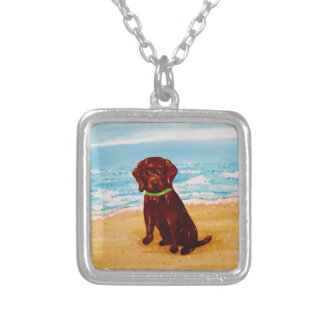 Chocolate Lab at the Beach Necklace