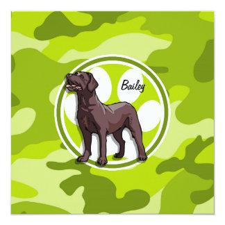 Chocolate Lab; bright green camo, camouflage 13 Cm X 13 Cm Square Invitation Card