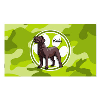 Chocolate Lab bright green camo camouflage Business Card