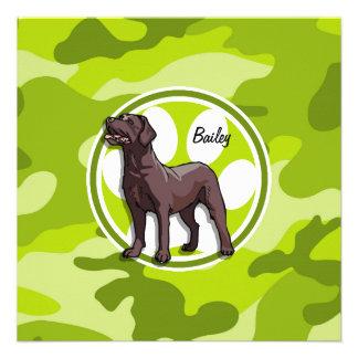 Chocolate Lab bright green camo camouflage Custom Invitation