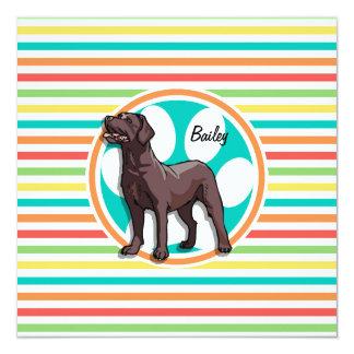Chocolate Lab; Bright Rainbow Stripes 13 Cm X 13 Cm Square Invitation Card