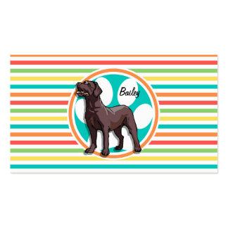Chocolate Lab Bright Rainbow Stripes Business Card Template