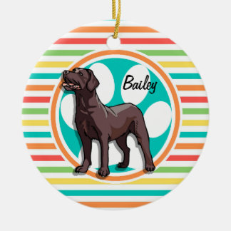 Chocolate Lab; Bright Rainbow Stripes Christmas Ornament
