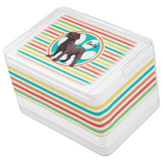 Chocolate Lab Bright Rainbow Stripes Igloo Can Cooler