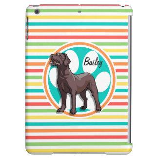 Chocolate Lab Bright Rainbow Stripes iPad Air Cover