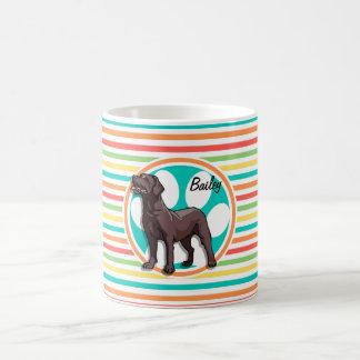 Chocolate Lab Bright Rainbow Stripes Coffee Mugs
