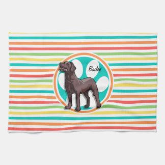 Chocolate Lab Bright Rainbow Stripes Kitchen Towel