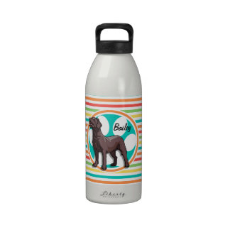 Chocolate Lab Bright Rainbow Stripes Reusable Water Bottles