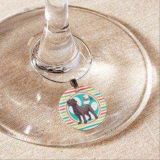 Chocolate Lab Bright Rainbow Stripes Wine Glass Charm