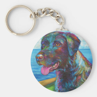 Chocolate Lab By The Seawall Basic Round Button Key Ring