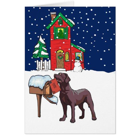 Chocolate Lab Christmas Card