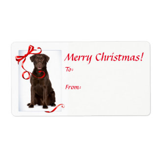 Chocolate Lab Christmas Gift Stickers Shipping Label