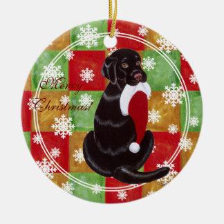 Chocolate Lab Christmas Santa Hat Snowflake Christmas Ornament