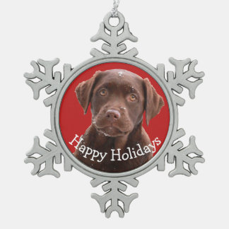 Chocolate Lab Dog Puppy Pet Canine Happy Holidays Snowflake Pewter Christmas Ornament