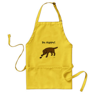 Chocolate Lab Friendly Cartoon Labrador Standard Apron