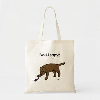 Chocolate Lab Friendly Cartoon Labrador Budget Tote Bag