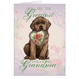 Chocolate Lab Heart Grandma Greeting Card