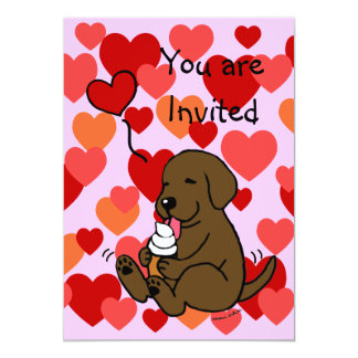 Chocolate Lab Ice Cream Birthday Party Invitations