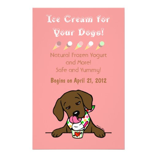 Chocolate Lab Ice Cream for Dogs Flyer Flyers