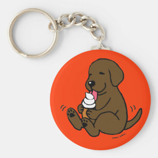 Chocolate Lab Licking Ice Cream Basic Round Button Key Ring