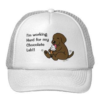 Chocolate Lab Licking Ice Cream Cap