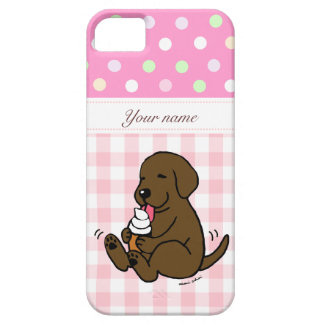 Chocolate  Lab Licking Ice Cream Cartoon Barely There iPhone 5 Case