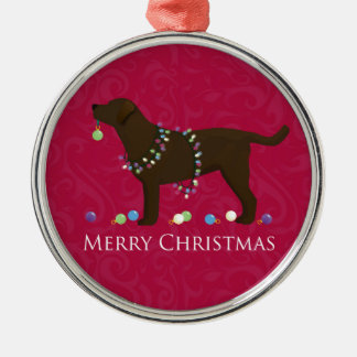 Chocolate Lab Merry Christmas Design Christmas Ornament