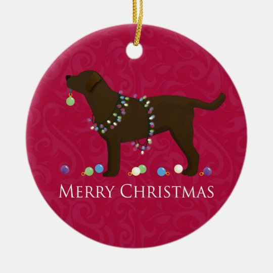 Chocolate Lab Merry Christmas Design Christmas Ornament