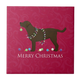 Chocolate Lab Merry Christmas Design Small Square Tile