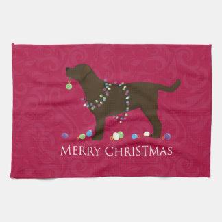 Chocolate Lab Merry Christmas Design Tea Towel