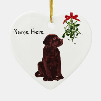 Chocolate Lab Mistletoe Christmas Ornament