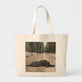 Chocolate Lab On A Forest Trail Jumbo Tote Bag