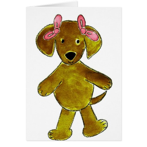 Chocolate Lab Pink Bows Card