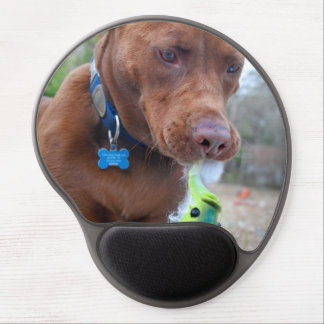 Chocolate Lab Pit Mix Dog and Toy Gel Mouse Pads