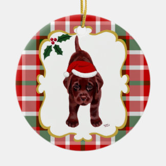 Chocolate Lab Puppy with Santa Hat 2 Christmas Ornament
