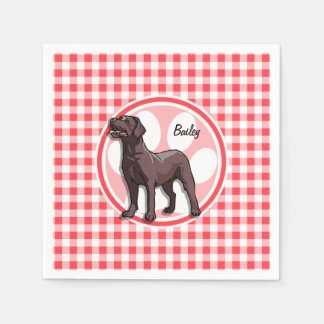 Chocolate Lab; Red and White Gingham Disposable Napkins