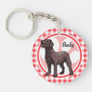 Chocolate Lab; Red and White Gingham Key Chains